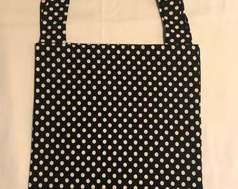 Polkadot Black and White Tote Bag