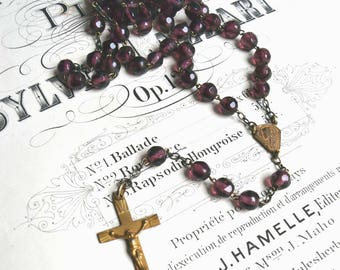 Vintage French Purple Faceted Glass Rosary Beads Cross Crucifix Art Deco