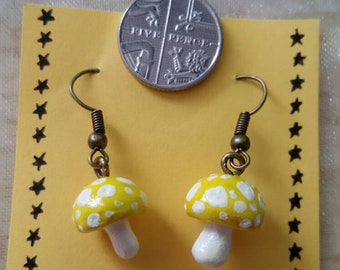 Yellow and White Toadstool Earrings|Cute and Quirky|Girlie Gift Ideas