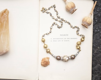 Victorian Mother of Pearl, ornate necklace, OOAK Brass necklace, One of a kind, Statement necklace, traditional jewellery