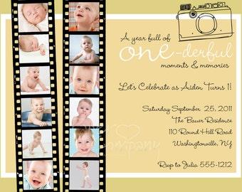 One Year in a Flash First Birthday Invitation - Printable Invitatino