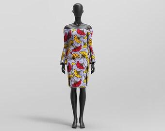 Custom Made African Design Off Shoulder Bell Sleeved Dress: BINA