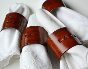 4 pcs NOTTING Personalized Leather Napkin Rings, Monogrammed napkin rings, preppy place setting, stamped leather table settings