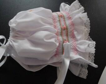 Hand Smocked Baby Bonnet--size newborn