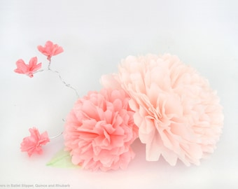 Paper Peony Centerpiece with Branch - Illuminated Coffee Filter Flowers