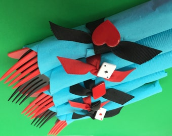 Mad Hatter Tea Party Flatware with Playing Card Theme Napkin Ring: Alice in Wonderland Party Flatware