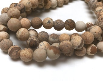 Picture Jasper Round Beads. Matte Finish. Opaque. Gemstone Beads. Center Drilled. 6mm. Full 15-16 Inch Strand.