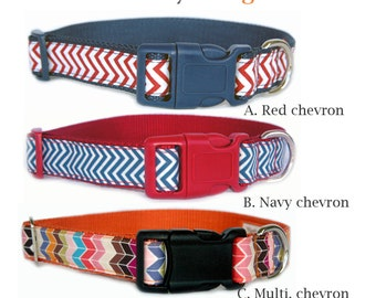 Chevron dog collar dog leash Red Navy blue Multi. color contrast buckle pet collar for boy dog girl dog Small dog collar Large dog collar