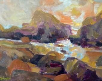 """Original Oil Painting Framed Landscape """"Craggy"""""""