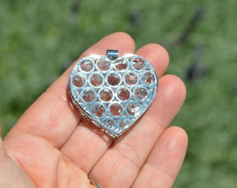 1 Silver Plated Puffed Heart Pendant SC1195