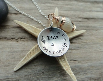 I'm a Mermaid, Sea Shell Electroplated Jewelry, Ocean Necklace, Stamped Aluminum Disk Necklace, on Silver Plate Chain