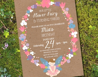 Flower Fairy Party Invitation - Floral Invitation - Kraft invitation - Instant Download and Editable File - Personalize with Adobe Reader