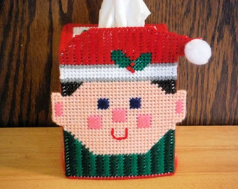 Christmas Elf Tissue Box Cover // Needlepoint Tissue Holder // Needlepoint on Plastic Canvas // Christmas Gift // Santa's Helpers