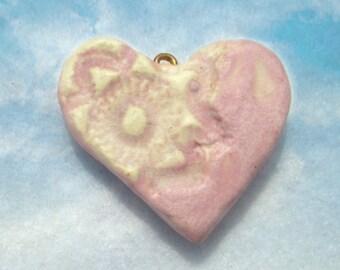 clay heart bead, bead for necklaces, heart bead,ceramic bead,   # 128