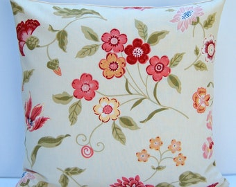 Pink Floral Pillow Cover, Coral Pink and Green Floral Throw Pillow, 18x18 Pillow, Rose Floral Cushion Cover