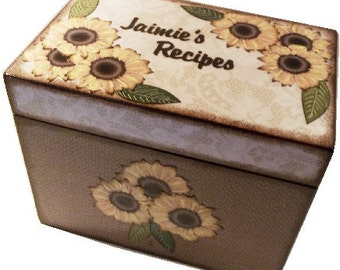 Recipe Box, Decoupaged, Holds 4x6 Cards,Large Handcrafted Burlap - Lace Sunflower Rustic Box, Storage Organization MADE TO ORDER