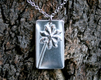 Floral Pendant 'Ma Petite Fleur' Sterling Silver flower pendant. Eco-friendly recycled silver. Exclusive design. Little silver flower.