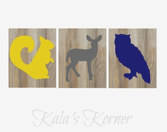 Woodland Nursery Art, Forest Nursery art, Forest Animals nursery, Woodland Animals Nursery, Playroom wall art, Playroom art, boys nursery