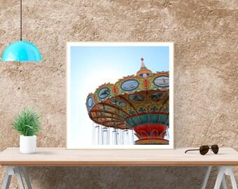 Swings at the Santa Cruz Beach Boardwalk//Summer Wall Art//Perfect Canvas Print//Large Wall Art//Surf City, USA