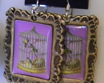 Purple or Green Vintage Style Bird Cage - VictorianButterfly  Resin Cabochon Earrings