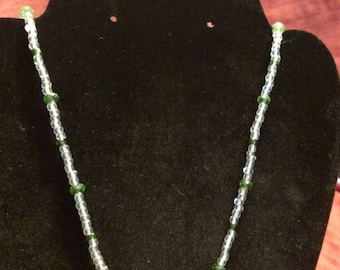 Green and Clear flower necklace (reduced was 8.00)