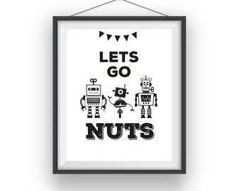 Robots Print, Robot wall print, Robots room art, playroom decor, nursery art, wall decor, children wall art, 8x10 print