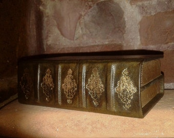 Precious DOS A DOS leather double journal, gilding decorations, ancient style book - from Italy