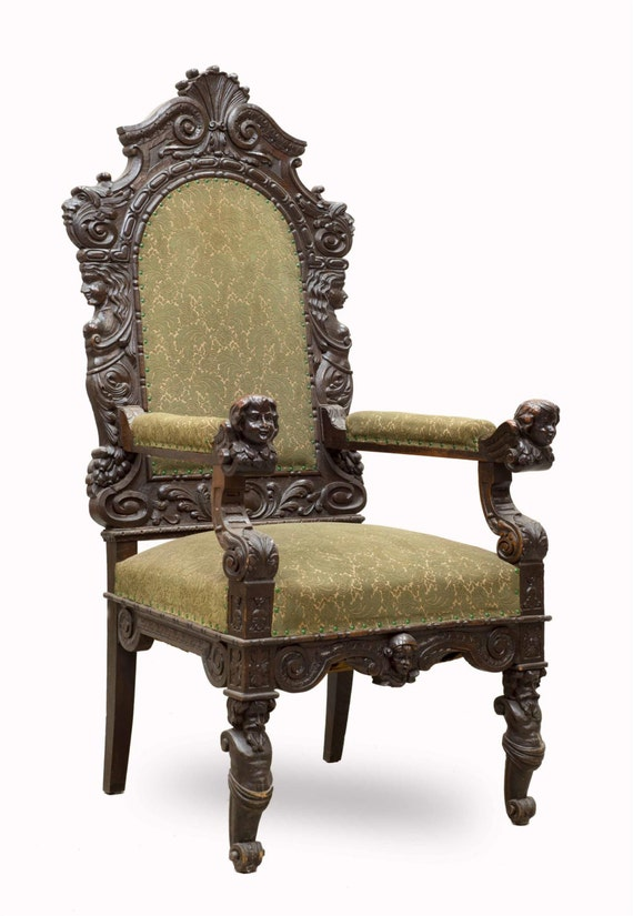 Antique French Renaissance Arm Chair WONDERFUL Carved Detail 19th Century  In Oak #6628