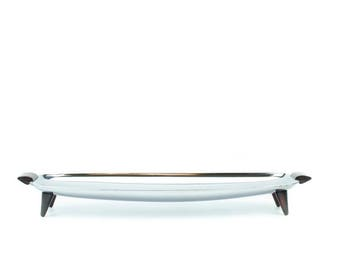 Glo Hill Chrome Bakelite Serving Tray Mid Century Modern