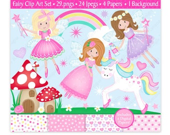 Fairy Clipart & Digital Papers Set,Fairy Clip Art,Unicorn Clipart,Clipart,Cute Fairy Clipart,Cute Unicorn,Scrapbooking,Commercial Use