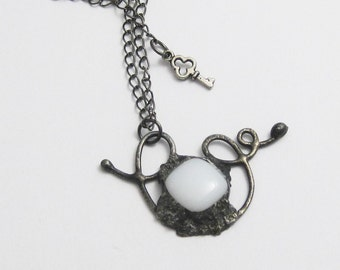 White Floating Away Pendant   Fused Glass   Wirework   White Glass   Eclectic