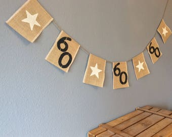 60th Birthday Bunting Banner Special Offer Vintage Hessian Burlap Rustic