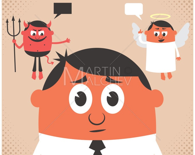 Conscience - Vector Cartoon Illustration. dilemma, moral, hesitation, angel, devil, advice, decision, choice, thinking, uncertainty,
