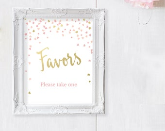 Bridal Shower Favor Sign - Favour Sign - Pink and Gold Wedding Favor Signs - Baby Shower Favor Sign - Printable - Pink and Gold Hearts