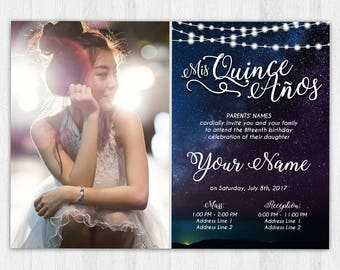 printable invitation quinceaera sweet 16 rustic starry night sky twinkle lights