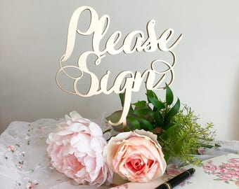 Laser Cut Please Sign - Please Sign Wedding Table Sign - Wedding Signage - Elegance Line