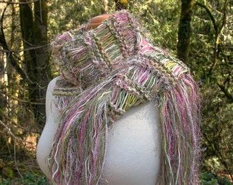 cottage rose. handknit scarf . vegan knitwear . drop stitch medium weight spring autumn fashion knit scarf . rose pink yellow moss green