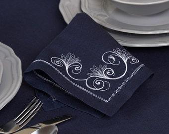 Linen/Cotton 4 Napkins, Linen Napkins, Blue Linen Napkins, Table Decoration, Dining Table Napkins, Christmas Gift