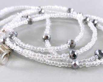Beaded Silver Eyeglasses Chain Reading Glasses Chain Transparent Eye Glass Chain Clear Silver Eyeglass Chain Eyeglasses Lanyard