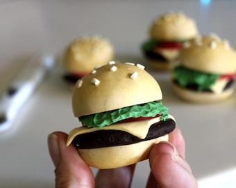 Hamburger Pattern Weights, 3oz/85g, set of 4, miniature food, Polymer Clay Weights, paperweights, cheeseburger, sewing gift