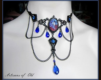 Dragons Breath Opal Victorian Choker, Black Choker, Sapphire Blue and Black, Gothic Black Necklace, Glass Opal, Made to Order