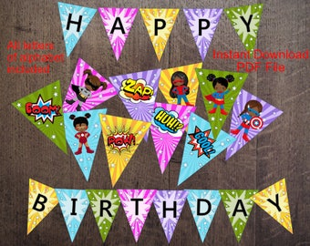 INSTANT DOWNLOAD - Girl Super - Hero Party Banner/Pennant/Dark Skin/AfricanAmerican Hero Printable Party Banner