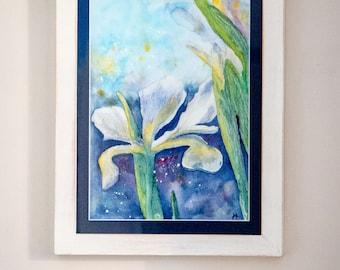 Original Iris painting in watercolour