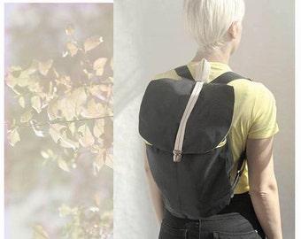Canvas backpack / yellow stripes