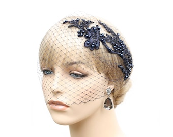 Midnight Blue Birdcage Veil With Lace Navy Blue Bridal Blusher Bridesmaid Wedding Special Occasion Hair Accessory