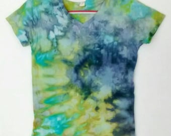 Aqua Blue Green and Indigo Women's size Medium Tee Shirt Ice Dyed in Lalique Colorway