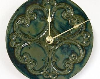 Baroque Inspired Ceramic Wall Clock in Smoky Blue