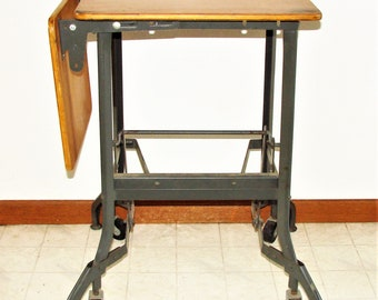 Typing Table Wood, Metal & Side Board Drop Leaf, Push Lever To Roll, Push Again To Lock In Place