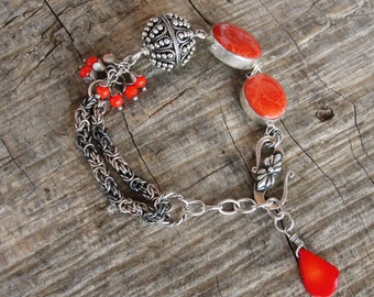 Red Coral Bracelet Sterling Silver Statement Jewelry Hand formed Sterling Silver Statement Bracelet