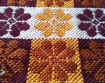 15%Off Hand woven brown and mustard vintage folk ethnic wallcarpet